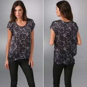 THEORY | Dark Gray Lilla Lace Print Silk Blouse